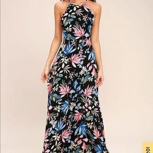 LOVING WAYS BLACK FLORAL PRINT MAXI DRESS